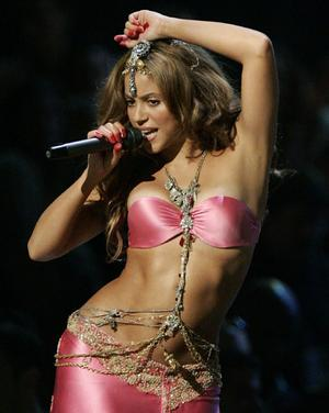 Losing her clothes for charity ... Columbian pop star Shakira.