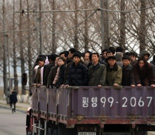 North Koreans commute to work in Pyongya