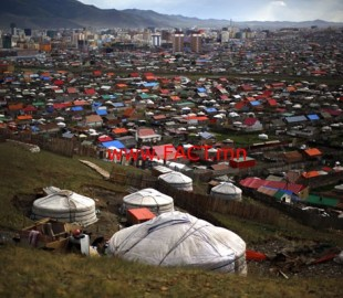 A 'Ger', a traditional Mongolian tent is seen on a hill at an area knows as 'Ger District' in Ulan Bator
