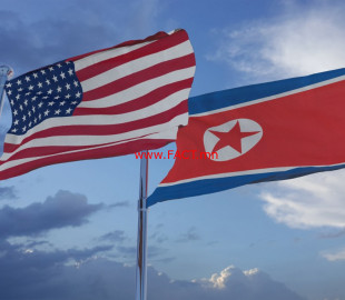 American and North Korean Flags 3D Illustration